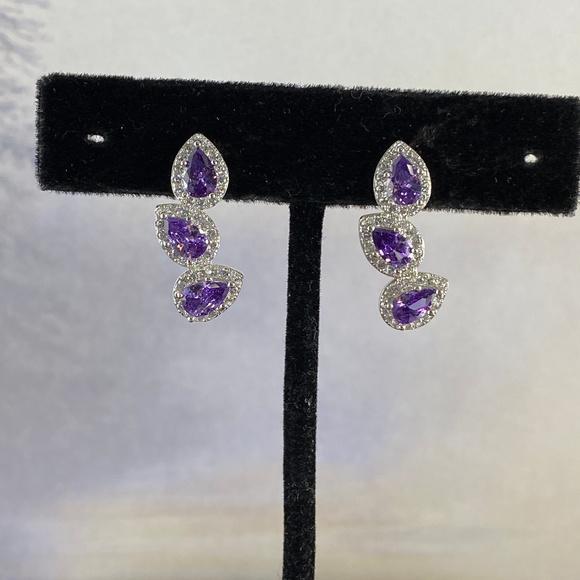 Gem Emporium Jewelry - Amethyst & CZ's Earrings Set in 925 Silver